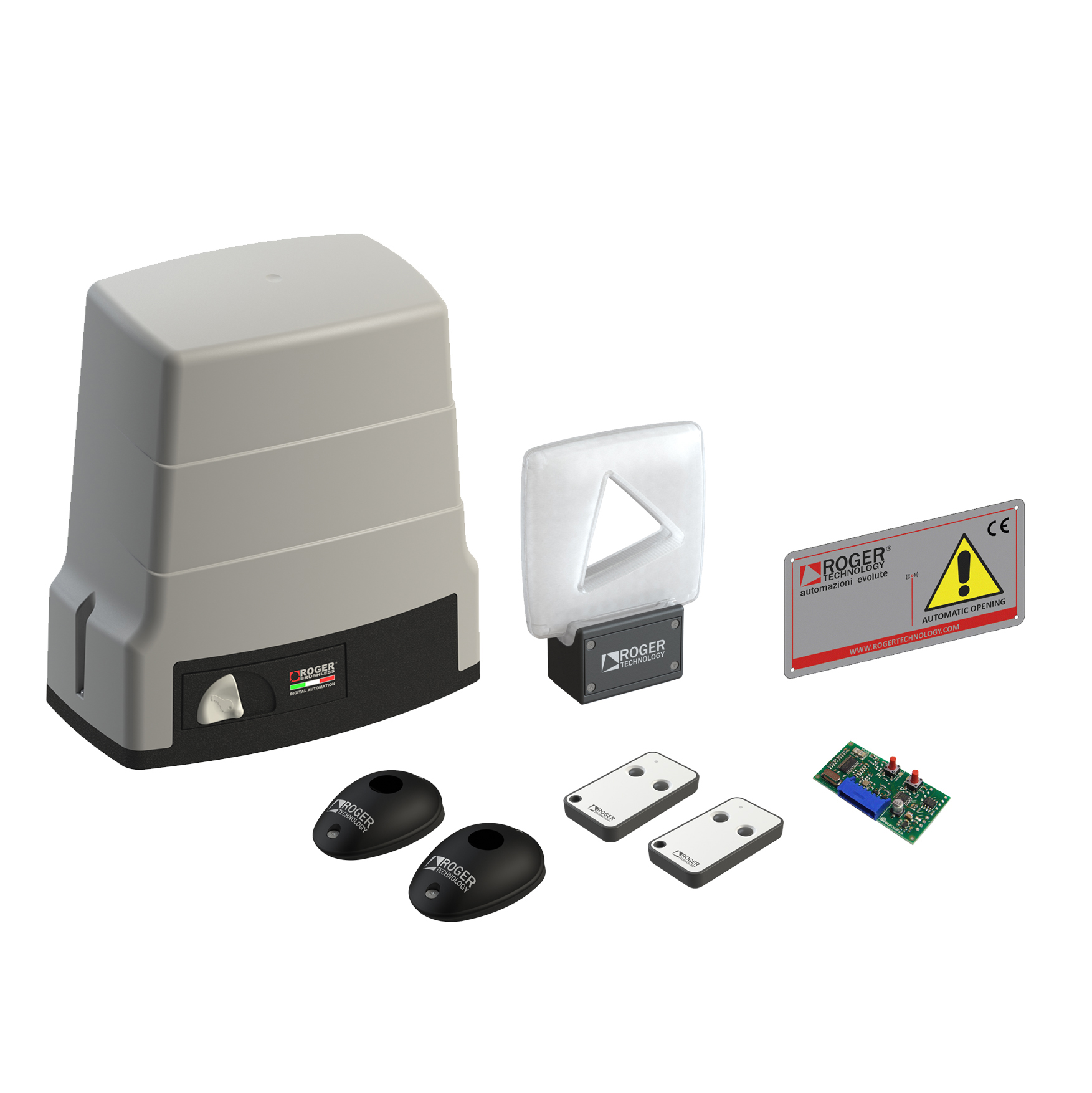 Roger Technology KIT BH30 / 805 automation for sliding gates weighing up to 1000 kg with maxi mechanical limit switches set