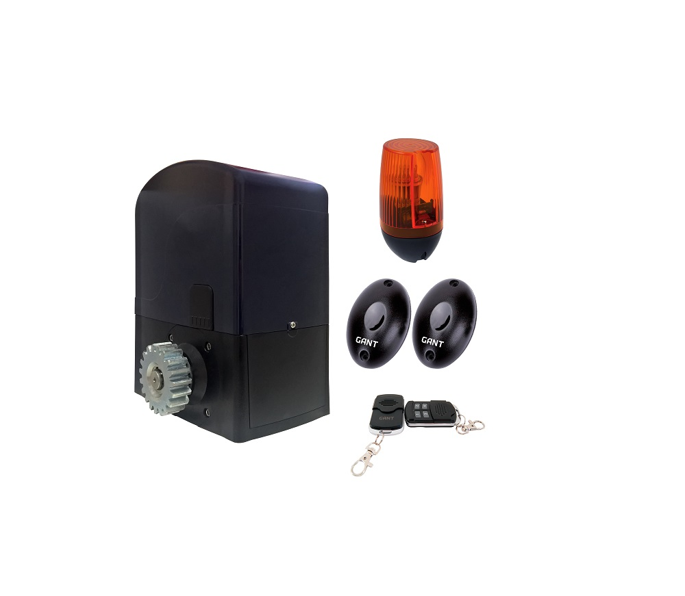 SET BA-400DC electric actuator + 4-channel remote control + PULSAR (230) signal lamp + IR30M photocells for outdoor installation
