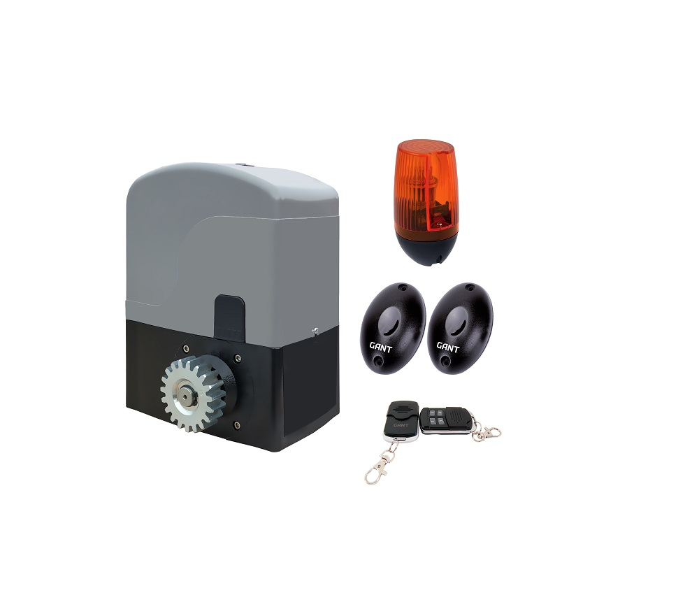 SET IZ-1200 electric actuator + 4-channel remote control + PULSAR (230) signal lamp + IR30M photocells for outdoor installation